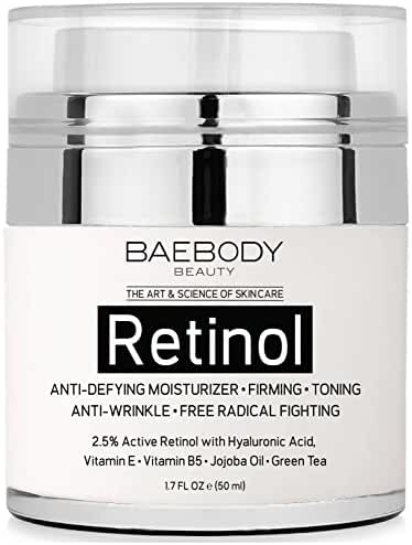 Baebody Retinol Moisturizer Cream for Face and Eye Area - With 2.5% Active Retinol, Hyaluronic Acid, Vitamin E. Anti Aging Formula Reduces Wrinkles, Fine Lines. Best Day and Night Cream. 1.7 Fl. Oz.